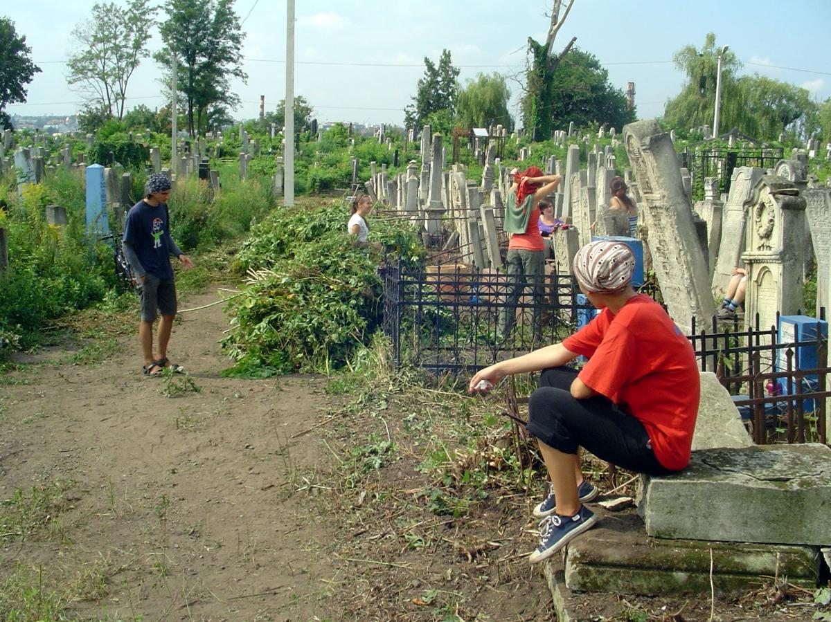 Volunteers having a break