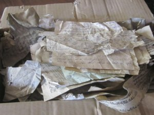 Scraps of miscellaneous Jewish papers dating from 1941-43 – discovered in early 2011 during the renovation of a building that once housed a synagogue within the Jewish ghetto.