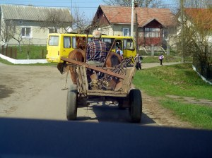 Horse carts are still common for transport