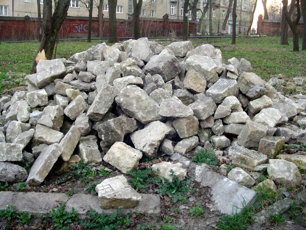 Lviv - fragments of Jewish grave stones, April 2013