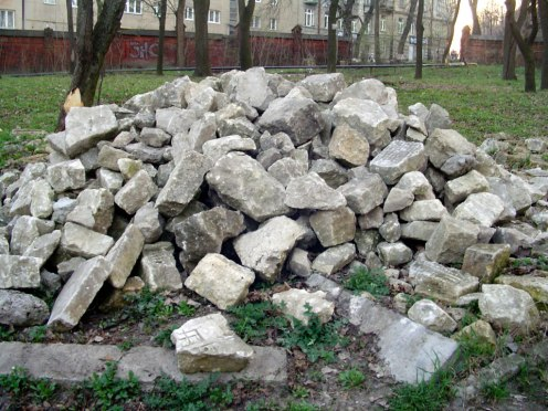 Lviv - fragments of Jewish grave stones, April 2013
