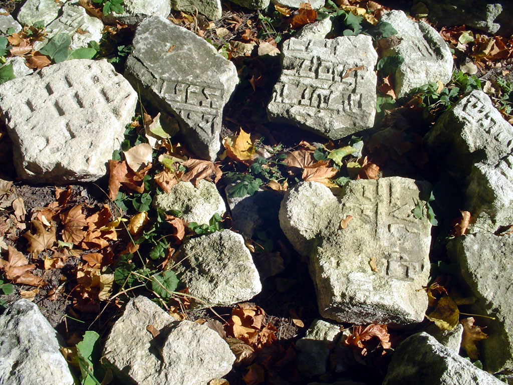 Lviv - fragments of Jewish grave stones, October 2012