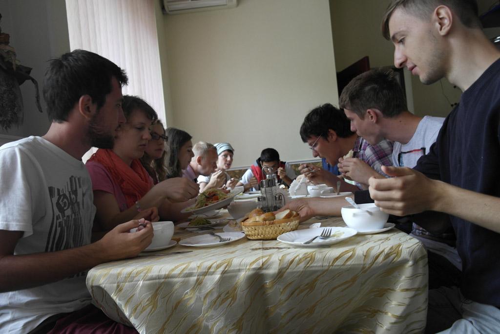 Kosiv - volunteers having a break