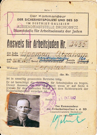 Identity card for slave worker Abraham Lippman (father of Józef Lipman) © Józef Lipman