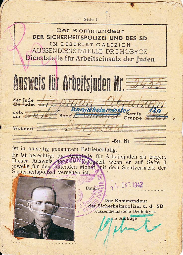 Identity card for slave worker Abraham Lippman (father of Józef Lipman) © Józef Lipman