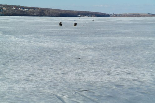 Ternopil - people fishing at the frozen lake