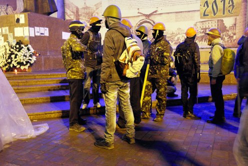 Young militants waiting for orders