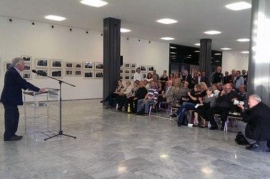 Exhibition opening, Cologne, September 17, 2014. Prof Dr Jürgen Wilhelm speaking. Photo: Jürgen Ertelt
