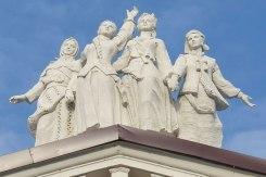 Rivne Theatre - sculptures dance on its roof into a bright future that never took place