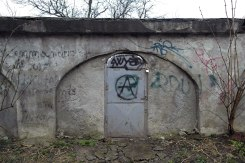 Suceava - closed gate of the Old Jewish Cemetery