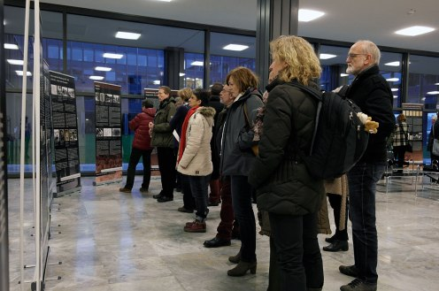 Visitors at the exhibition opening