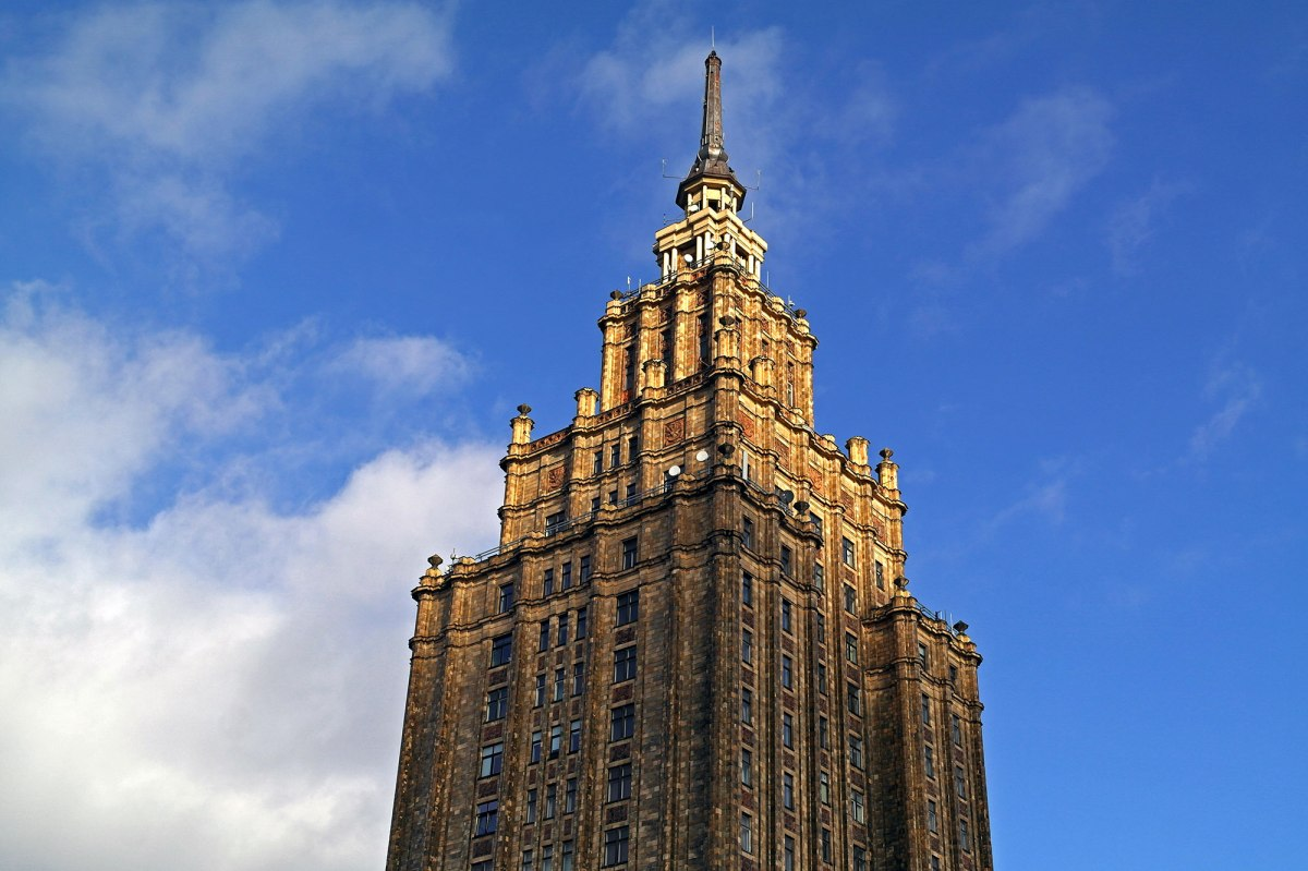 A Soviet style tower dominates Moscow suburb