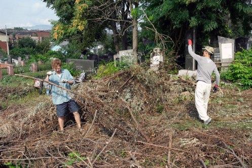 Czernowitz Jewish cemetery - volunteers at work