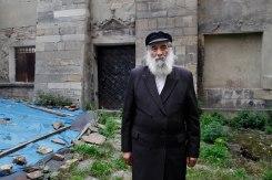 Meylakh Sheykhet in front of Golden Rose synagogue, Lviv, Ukraine