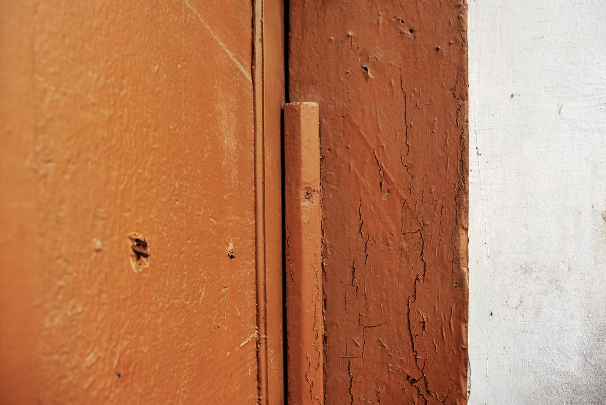 Trace of a mezuzah in Stryi, former Jewish quarter, Ukraine