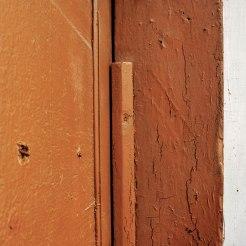 Trace of a mezuzah in Stryi, former Jewish quarter, Ukraine