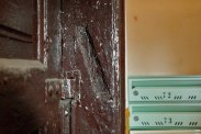 Trace of a mezuzah in Warsaw, Poland