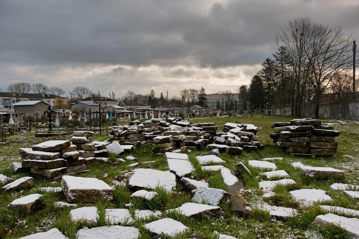 Saved Jewish tombstones at Radekhiv Christian cemetery