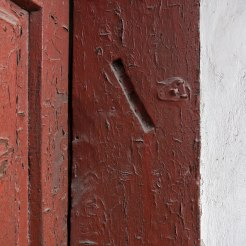 Trace of a mezuzah at Radekhiv market square
