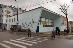 Lutsk - remains of Beit Midrash of Olyka Hasidim with adjacent bus station