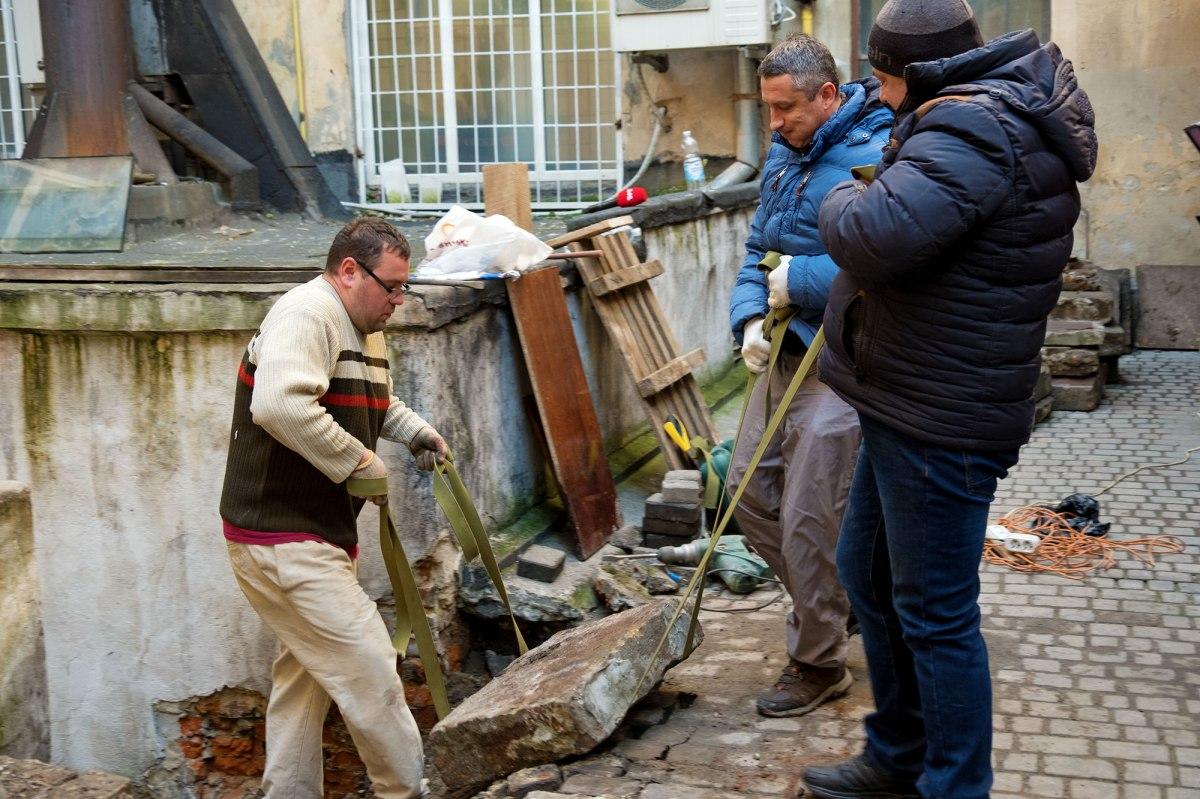 Saving Jewish tombstones at Halytska Square 15 in Lviv