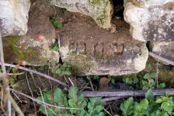 Monastyryska, Galicia in Ukraine - Jewish tombstones abused to build a pigsty of a Soviet collective farm