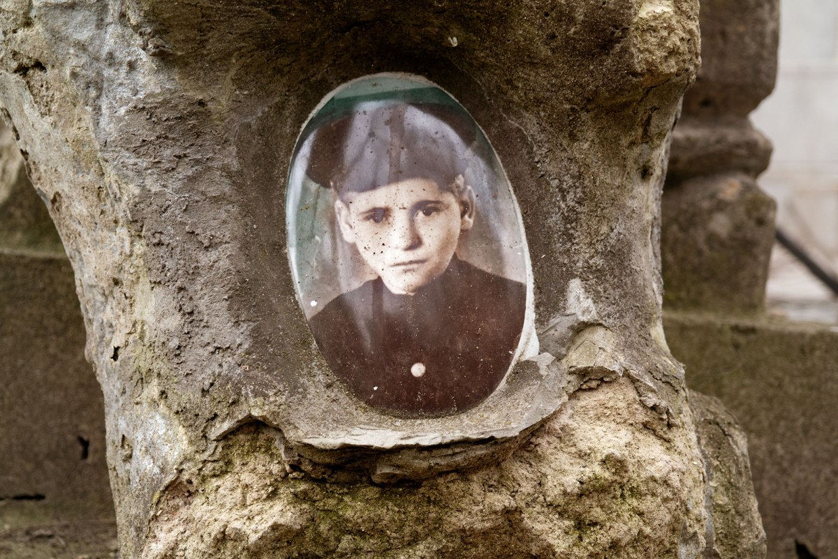 Chişinău, Bessarabia in the Republic of Moldova - portrait of a boy on a tombstone in the Jewish cemetery