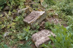 Chabarivka - tombstone fragments from the destroyed Jewish cemetery of Husiatyn