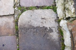 Chortkiv - Jewish tombstone in the pavement of Roslyanka Street