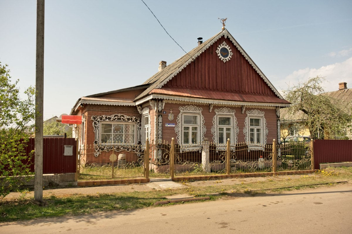 Stowbtsy - one of the many beautiful wooden houses we saw in Belarus