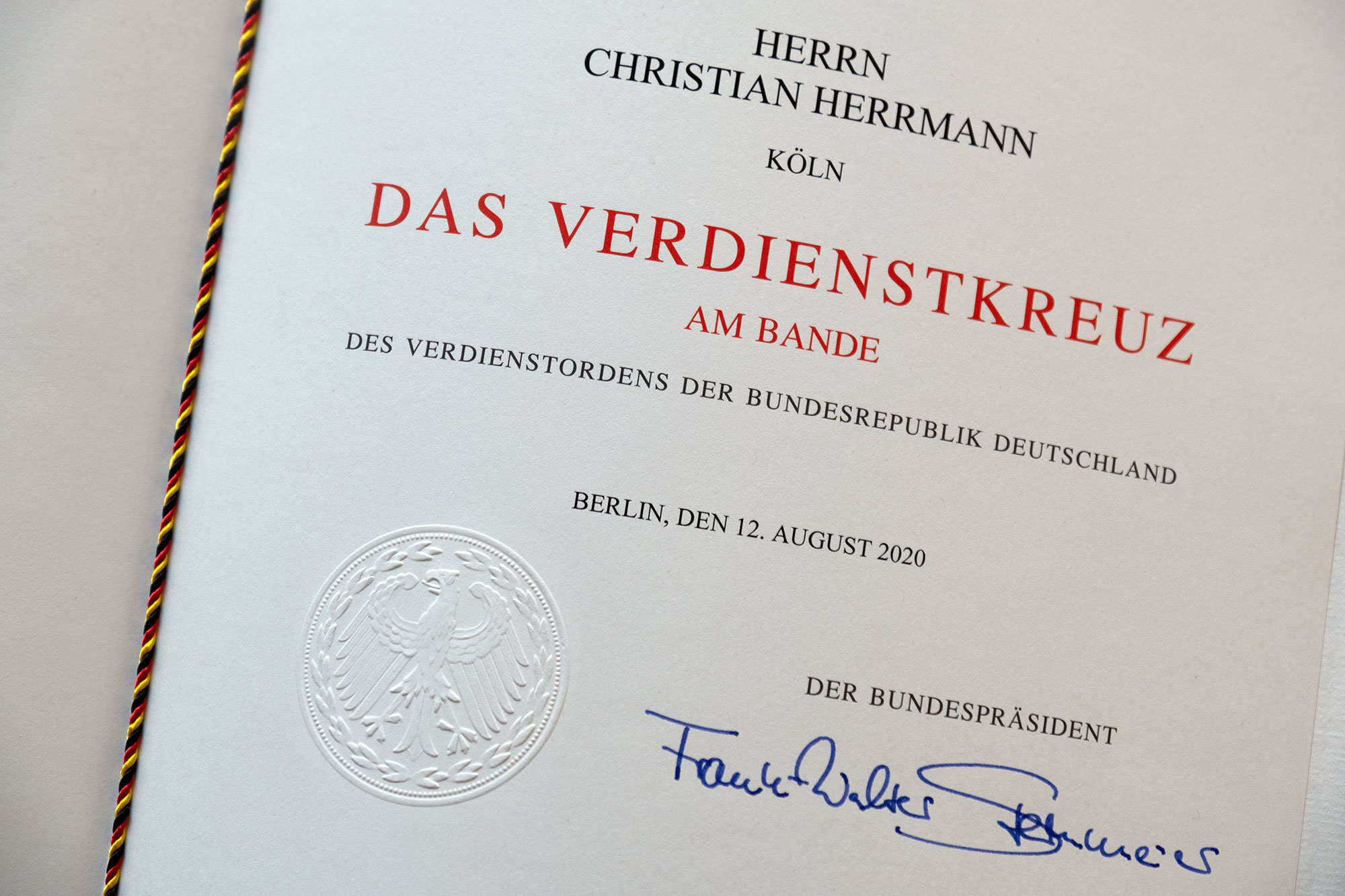 Order of Merit of the Federal Republic of Germany - award certificate