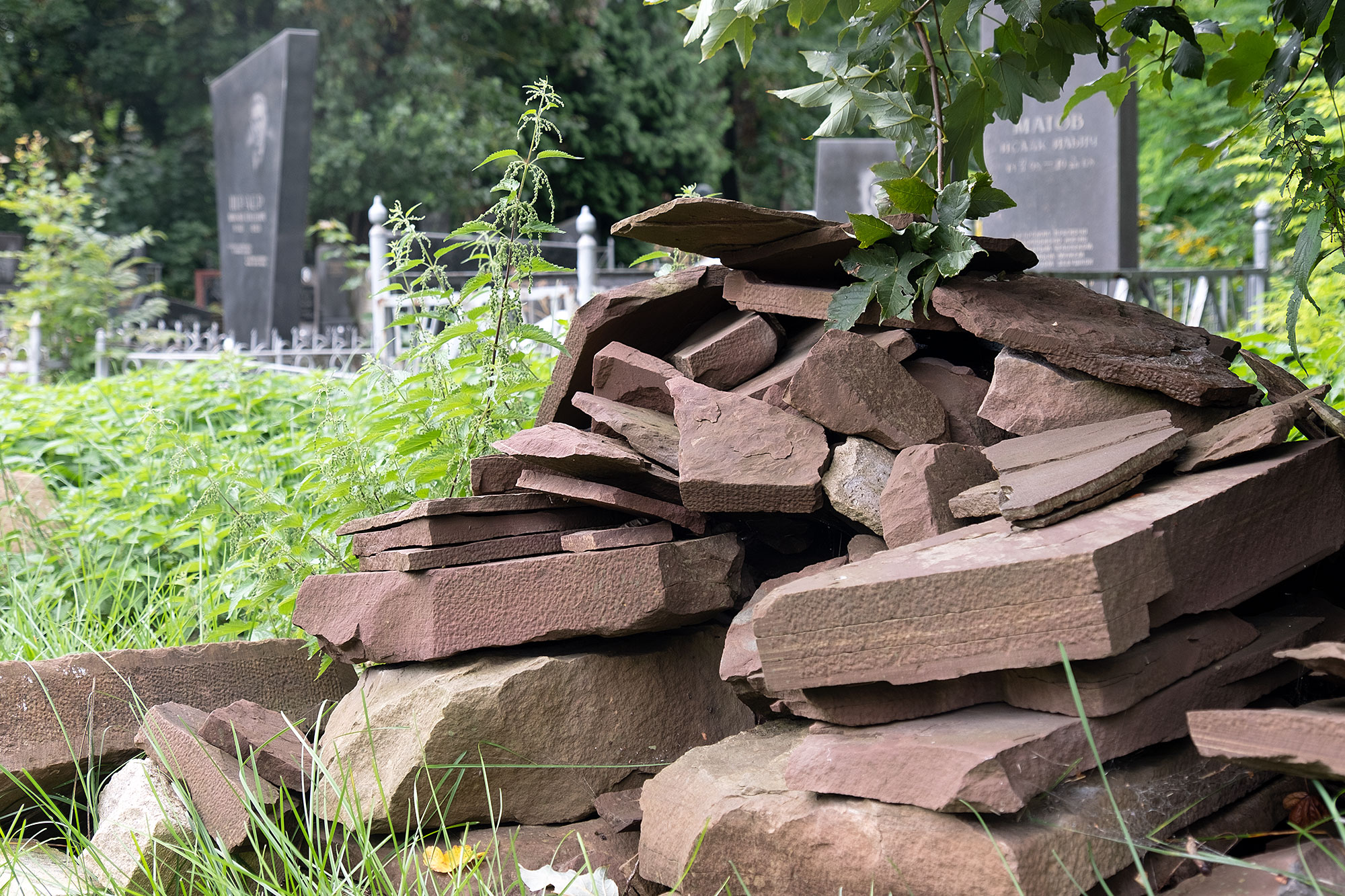 Lviv - Tombstone fragments at the Jewish cemetery