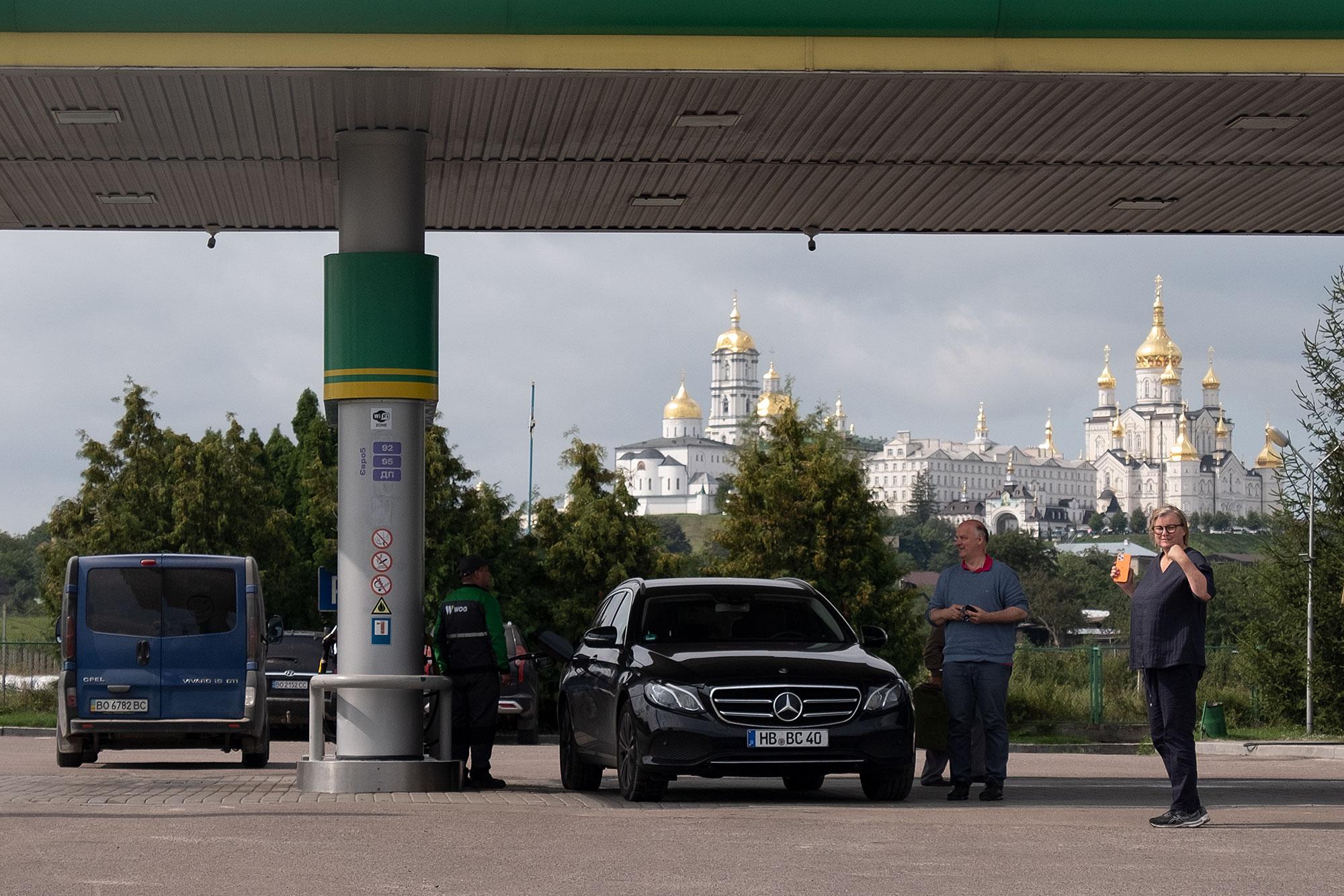 Pochaiv - Break at a gas station