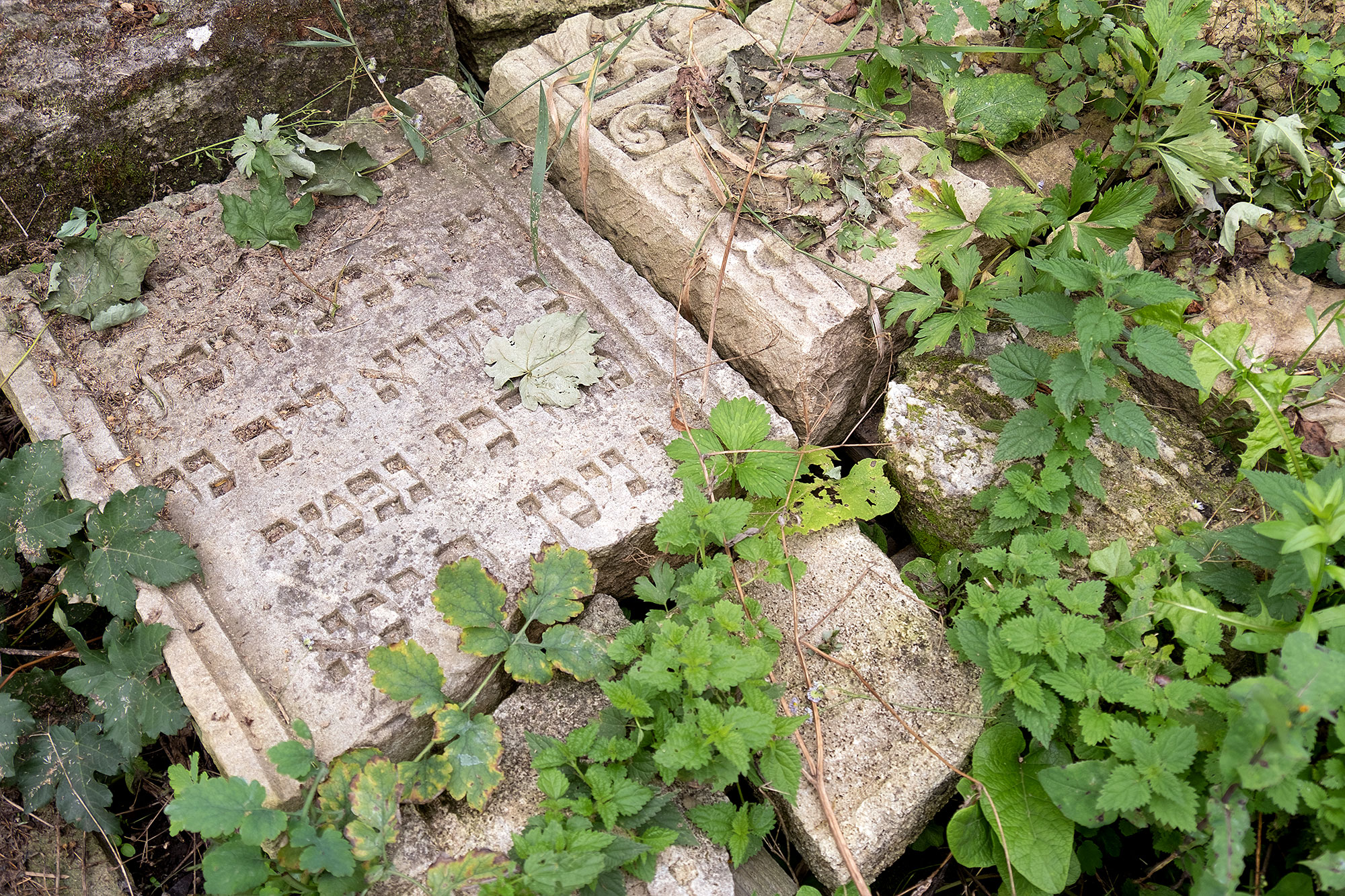 Husiatyn - tombstones from the destroyed Jewish cemetery